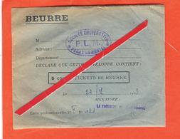 Enveloppe Contenant La Valeur De 5 Kg De Beurre En Tickets De Rationnement. - Documenti Storici