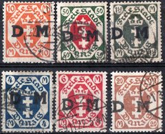 DANZICA, DANZIG, GERMANIA, ANTICHI STATI, 1921-1922, FRANCOBOLLI USATI  Scott O8,O17,O23,O25,O27 - Danzig