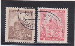 BOHEME & MORAVIE  1940-41  Y.T. N° 41  à  60  Incomplet  Oblitéré - Bohemia & Moravia