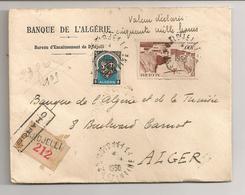 ALGERIE / LETTRE CHARGEE  DE LA BANQUE D'ALGERIE/ 1950/5  CACHETS DE CIRE AFFERENTS - Algérie (1962-...)