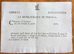 """REPUBBLICA CISALPINA LA MUNICIPALITA' DI VERONA  """"...PENA DI DUCATI 25....""""  DOCUMENTO NUOVO - Documenti Storici"""