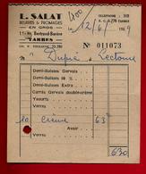 Petite Facture L. Salat Beurre Fromage En Gros Tarbes 12-06-1959 - Petits Suisses Yaourt Carrés Gervais ... - Alimentaire