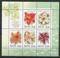 Russie ** N° 6617 à 6621 - Fleurs - Feuillet - - Neufs