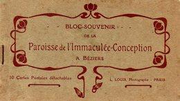 34-CPA BEZIERS - SUPERBE CARNET COMPLET DE 10 CPA DE LA PAROISSE DE L'IMMACULEE CONCEPTION A BEZIERS - Beziers