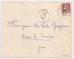Hexagonal Tireté MANZIAT Ain Pour LONS LE SAUNIER Jura. - Postmark Collection (Covers)