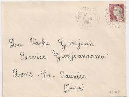 Hexagonal Tireté NEUILLY EN DONJON Allier Pour LONS LE SAUNIER Jura. - Postmark Collection (Covers)