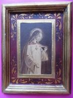 149 - Tableau Sacré Coeur Jésus - Cadre Doré Et Encadrement Peint - Bastier - Other Collections