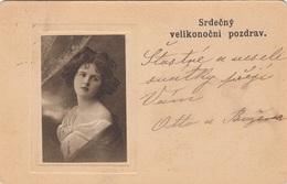 SRDECNY VELIKONOCNI POZDRAV - Hübsches Mädchen Foto In Präge-Passepartout, Sehr Alte Seltene Karte, Marke Abgelöst - Gruss Aus.../ Grüsse Aus...