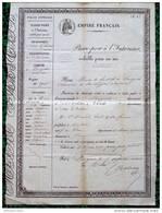 """PASSEPORT """"POLICE GENERALE EMPIRE FRANCAIS"""" D37 CHINON-LANGEAIS -  Mr DAVID PAUL Et Sa Femme, DENTISTE De PAU  En 1851 - Collections"""