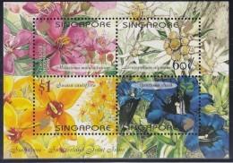 SINGAPUR  Block 82, Postfrisch **, Blumen 2001, Parallelausgabe Mit SCHWEIZ - Singapore (1959-...)