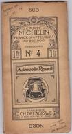 Carte Routiere Michelin N° 4 Cherbourg Carte Du Toile Publicite Auto Renault - Cartes Routières