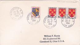 1954 - Enveloppe De Marseille RP - 1er Arrondissement , France Vers Cleveland, USA Par Paquebot - Postmark Collection (Covers)