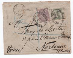 """GRANDE BRETAGNE - 1886 - ENVELOPPE Avec YVERT N°7 &83 OBLITERE """"REGISTERED"""" Pour NARBONNE -> ENTREE CALAIS A PARIS - Marcophilie"""