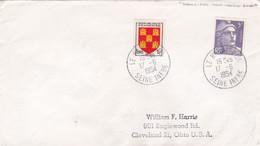 1954 - Enveloppe De Le Havre Principal, France Vers Cleveland, USA Par Paquebot - Postmark Collection (Covers)