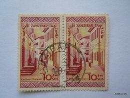 ZANZIBAR 1966, Karibuni Visiwani, Jamhuri, Zanzibar,Tanzania, Block Of 2 Stamps Of 10S.SG 472. Used. - Zanzibar (1963-1968)