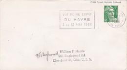 1956 - Enveloppe De Le Havre Principal, France Vers Cleveland, USA Par Paquebot - Postmark Collection (Covers)