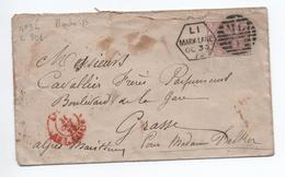 GRANDE BRETAGNE - 1879 - ENVELOPPE Avec YVERT N° 55 Pour GRASSE Avec CACHET ROUGE ANG AMB CALAIS - Marcophilie
