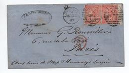 GRANDE BRETAGNE - 1867 - ENVELOPPE Avec PAIRE YVERT N° 32 Pour PARIS - Marcophilie