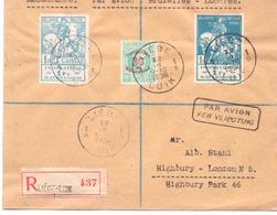 Belgique N° 237-39 Sur Lettre Recommandée Par Avion - Liège 1926 - Lettres & Documents