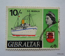 GRIBRALTAR 1967, Queen Elizabeth II, 10s. S.S. Neuralia. SG 212, Used. - Gibraltar