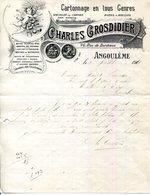 16.CHARENTE.CARTONNAGE EN TOUS GENRE.CHARLES GROSDIDIER 26 RUE DE BORDEAUX. - Imprimerie & Papeterie