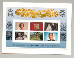 Guyana #3187-3188 Queen Elizabeth M/S Of 6 & 1v S/S Chromalin Proofs In 2 Folder - Guyana (1966-...)