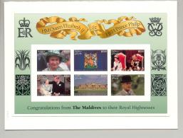 Maldives 1997 Queen Elizabeth Golden Wedding M/S Of 6 & 1v S/S Chromalin Proofs - Maldives (1965-...)