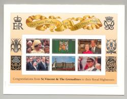 St Vincent 1997 Queen Elizabeth 1v M/S Of 6 & 1v S/S Chromalin Proofs In Folders - St.Vincent (1979-...)