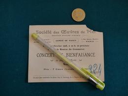 Carte  Visite Publicitaire Societe Des œuvres De Mer  1928 Concert Bienfaisance Comité De Nancy - Biglietti D'ingresso