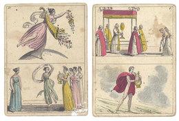 2 Cartes à Identifier, Femmes Dansant, Musicien à La Harpe, Religion - Autres Collections