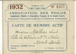 MONACO . BEAUSOLEIL . CARTE ASSOCIATION DES POILUS - Documenti Storici