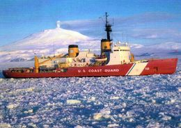 "1 AK Antarctica * US Coast Guard Icebreaker ""Polar Star"" Works In McMurdo Station - Mt. Erebus In The Background * - Ansichtskarten"