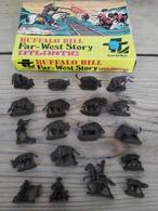 Figurines  / ATLANTIC 1002 / BUFFALO BILL Fare-West Story (Bisons) / SCALA HO / 20 PIECES + Boîte D'origine - Années 70 - Figurines