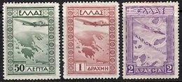 GREECE 1933 AIR 50l, 1d, 2d  Mint - Airmail