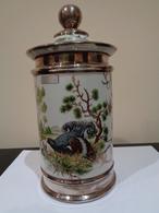 Jarrón Con Tapa. Porcelana Bohemia JN Barcelona. Urogallos En La Montaña. - Ceramics & Pottery