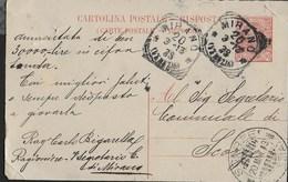 STORIA POSTALE REGNO - ANNULLO TONDO-RIQUADRATO MIRANO/(VENEZIA) 20.03.1913 PER SCORZE' (VE) - Marcofilía