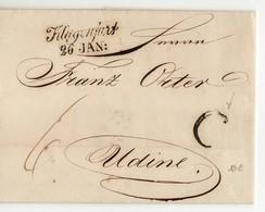 7383 AUSTRIA OSTERREICH KLAGENFURT TO UDINE 1845 WITH TEXT - Österreich