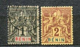 6544   BENIN   N°  33°, 34*   1c Noir S. Azuré, 2c Lilas-brun S. Paille       1894     B/TB - Nuevos