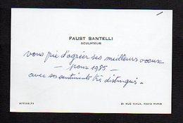 """Carte De Visite """"Faust Santelli """" Sculpteur à Paris 15 - Cartoncini Da Visita"""