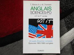 """Anglais """"Sciences-PO"""" (F. Maniez & J.M. Thomson) éditions Dunod De 1993 - Books, Magazines, Comics"""