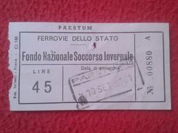 ANTIGUO TICKET BILLETE TRANSPORTE ITALIA ITALY 1961 TRAIN FERROVIE DELLO STATO PAESTUM TREN TRAIN FERROCARRIL VER FOTO/S - Europa