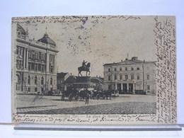 SERBIE - A LOCALISER - Позоришни Трг - LA PLACE DU THEATRE - ANIMEE - ATTELAGES - STATUE EQUESTRE - DOS SIMPLE - 1904 - Serbie