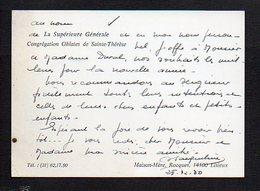 Carte De Visite De La Supérieure Générale De La Congrégation Oblates De Sainte Thérèse à Rocques Par Lisieux 14 - Cartoncini Da Visita