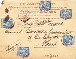 Cachet Type 18 Et OR Les Riceys (Aube) Sur Enveloppe - Postmark Collection (Covers)