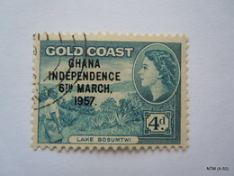 GHANA 1957, (Gold Coast) 4d.  (Lake Bosumtwi), Over Printed: Ghana Independence 6th March 1957. SG176. Used. - Ghana (1957-...)
