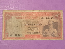 Ceylon 5 Rupees 1974 P73b Circulé - Sri Lanka