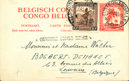 CONGO BELGE EP CENSURE COSTERMANSVILLE 22.01.45 VERS LEUVEN - Entiers Postaux