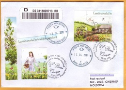 2018 Moldova Moldavie Used Cover Folk Traditions. Months Of The Year. May. Swallows. Tulips. Daffodils. Sheeps. Flowers. - Moldavië