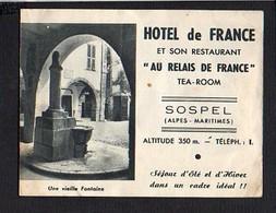 """Carte De Visite Publicitaire 2 Volets """" Hôtel De France """" Et Son Restaurant """"Au Relais De France"""" à Sospel 06 - Cartoncini Da Visita"""