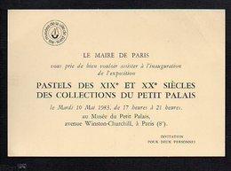 Carte D'Invitation Du Maire De Paris Pour L'Inauguration De L'Exposition Pastels Des 19 Et 20 é Siècles Du Petit Palais - Cartoncini Da Visita